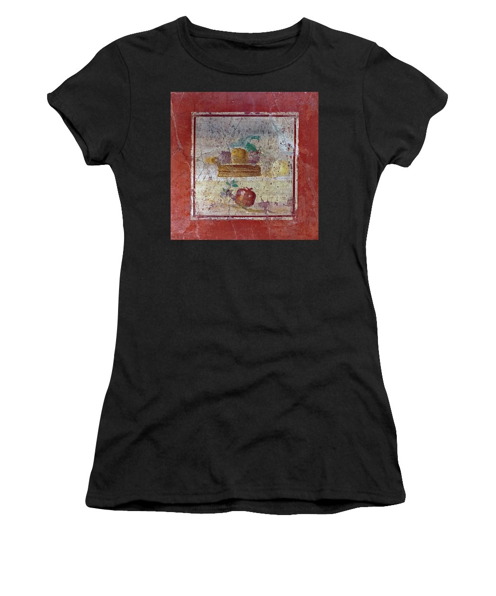 Pompeii Women's T-Shirt (Athletic Fit) featuring the photograph Pompeii Pomegranate Still Life Fresco 1 by Kevin Anderson