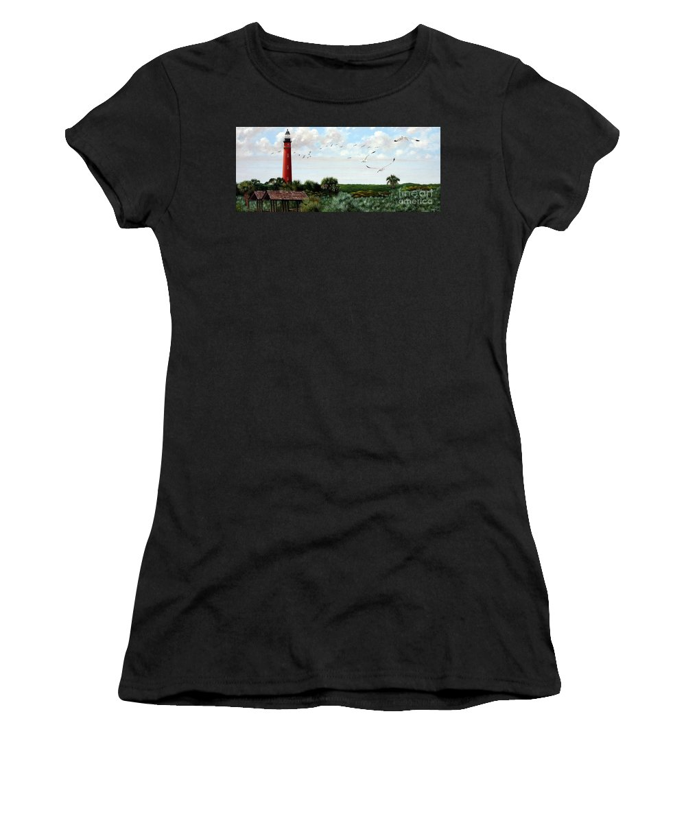 Lighthouse Women's T-Shirt (Athletic Fit) featuring the painting Ponce De Leon Lighthouse by Michael Nowak