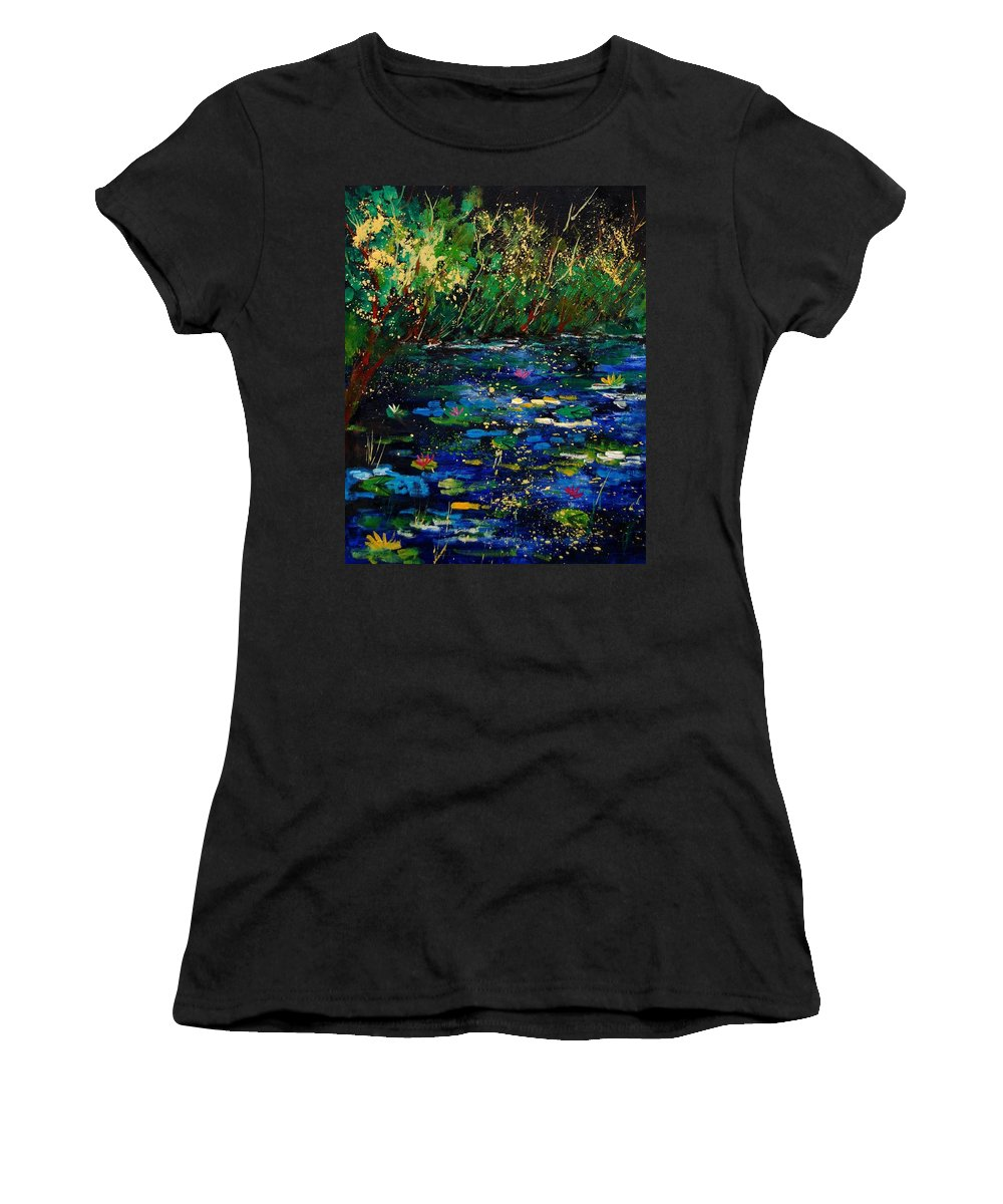 Water Women's T-Shirt (Athletic Fit) featuring the painting Pond 459030 by Pol Ledent