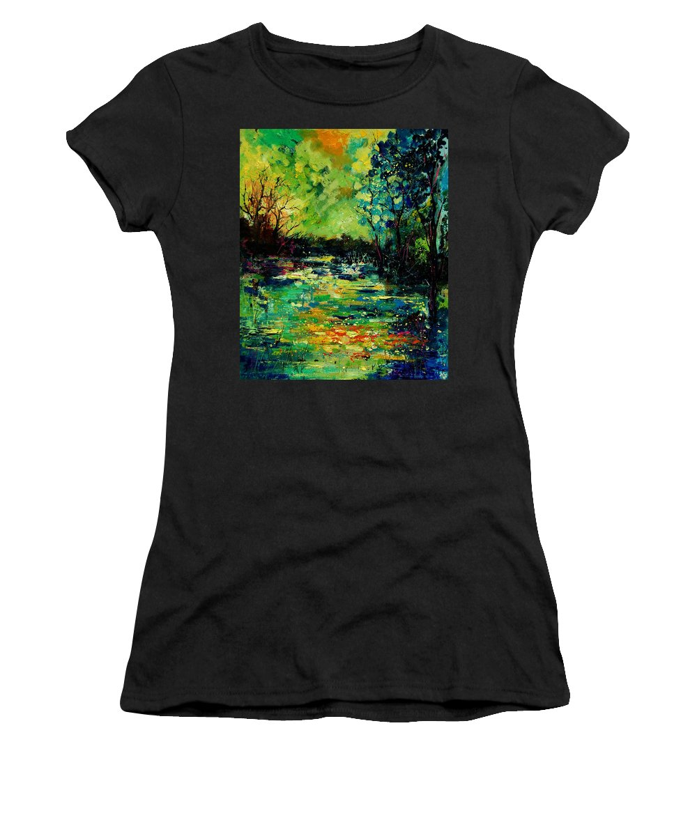 Pond Women's T-Shirt (Athletic Fit) featuring the painting Pond 560120 by Pol Ledent
