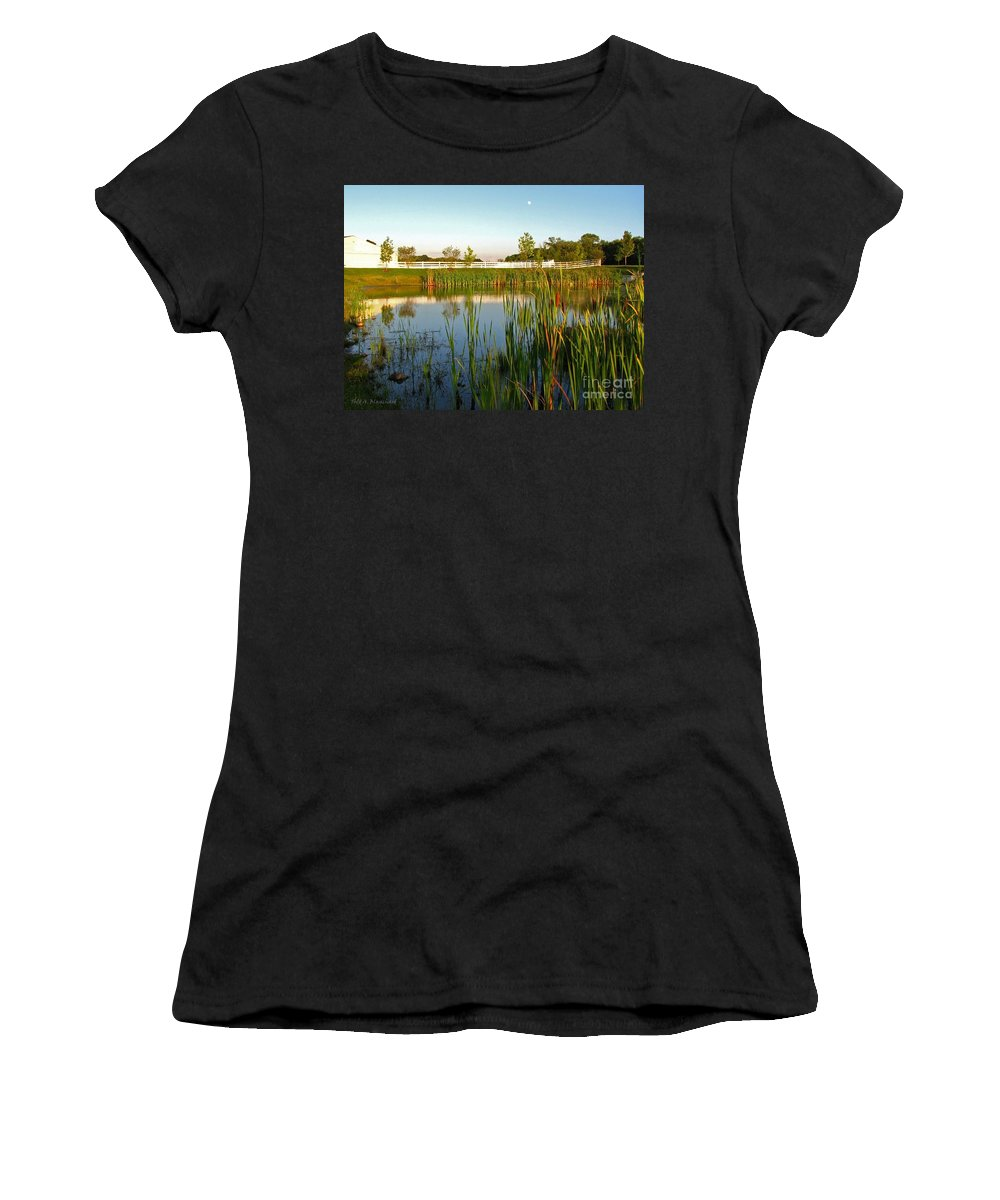 Landscape Women's T-Shirt (Athletic Fit) featuring the photograph Pond At Sunset by Todd Blanchard