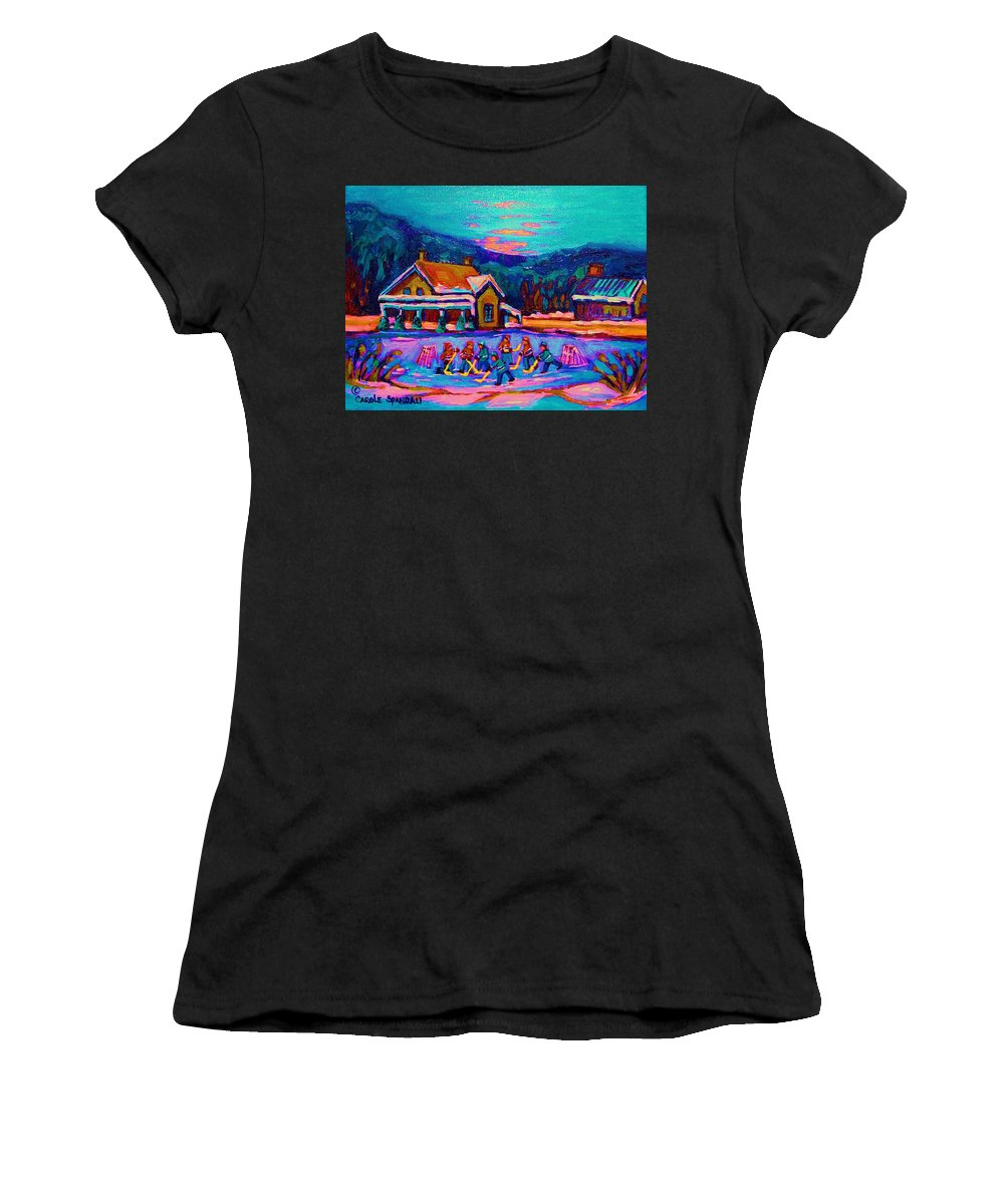 Pond Hockey Women's T-Shirt (Athletic Fit) featuring the painting Pond Hockey Two by Carole Spandau