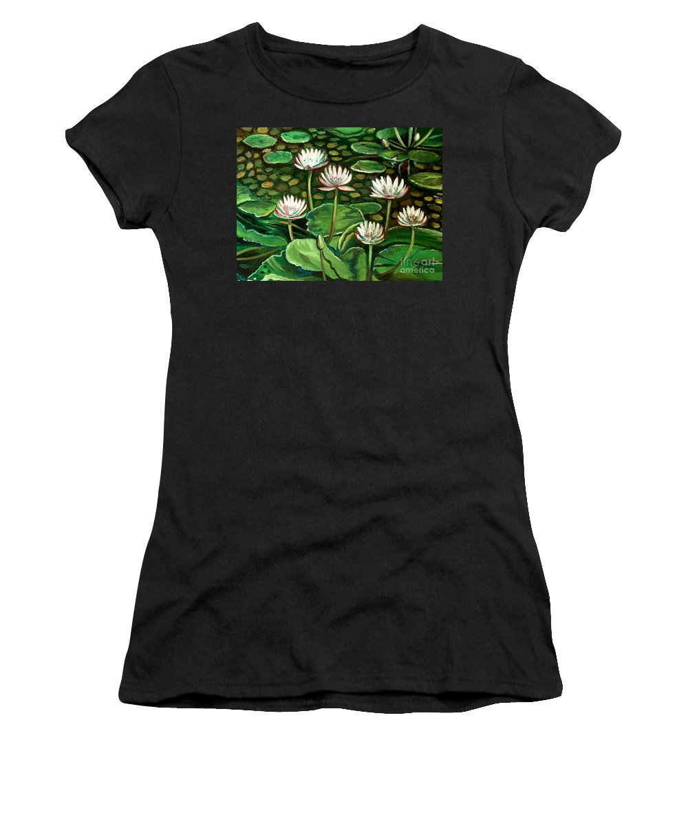 Water Women's T-Shirt (Athletic Fit) featuring the painting Pond Of Petals by Elizabeth Robinette Tyndall