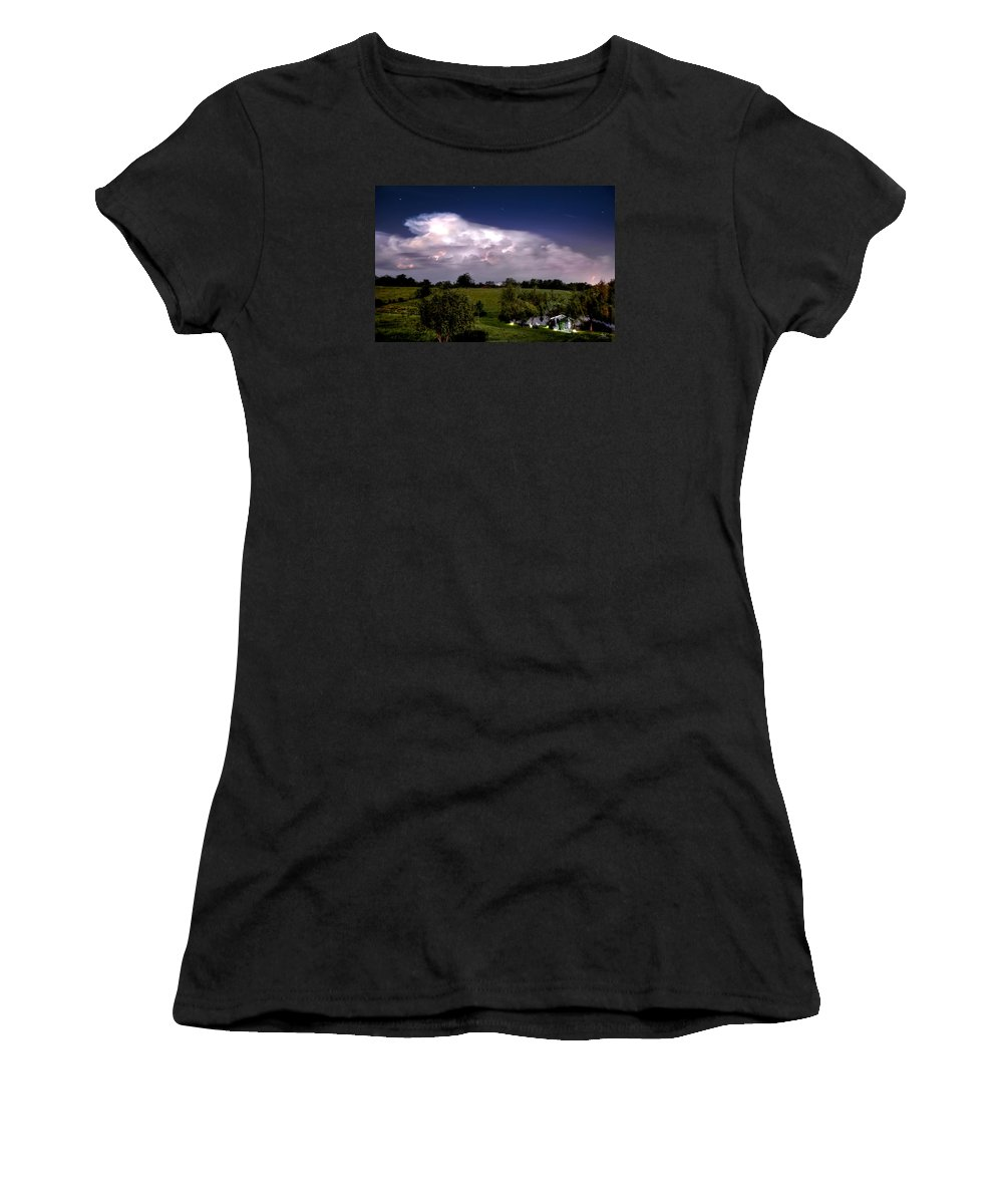 Pond Women's T-Shirt (Athletic Fit) featuring the photograph Pondsky At Night by Sam Davis Johnson