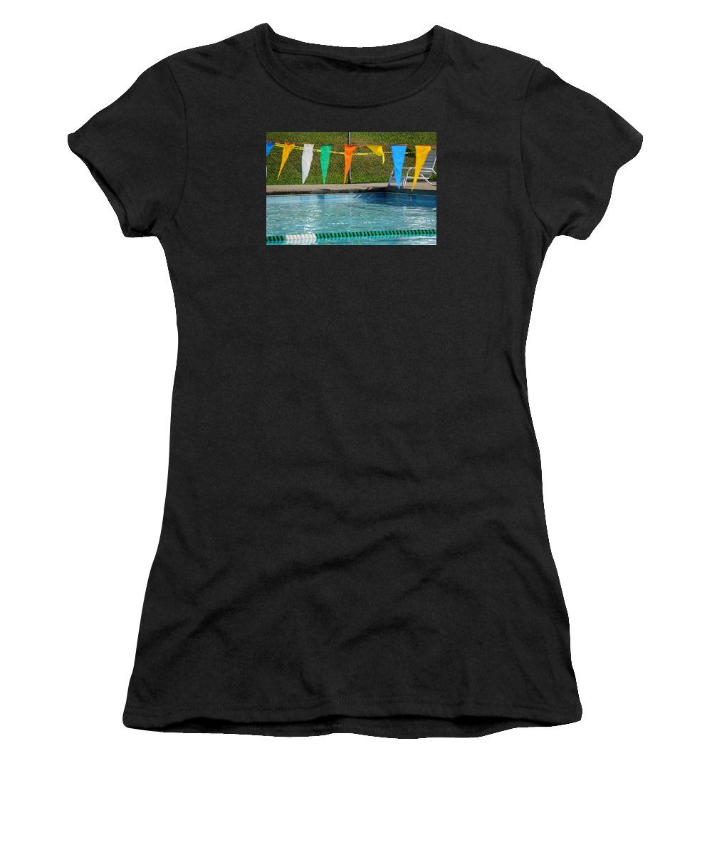 Women's T-Shirt (Athletic Fit) featuring the photograph Pool Side by Deborah Kilty Harrison