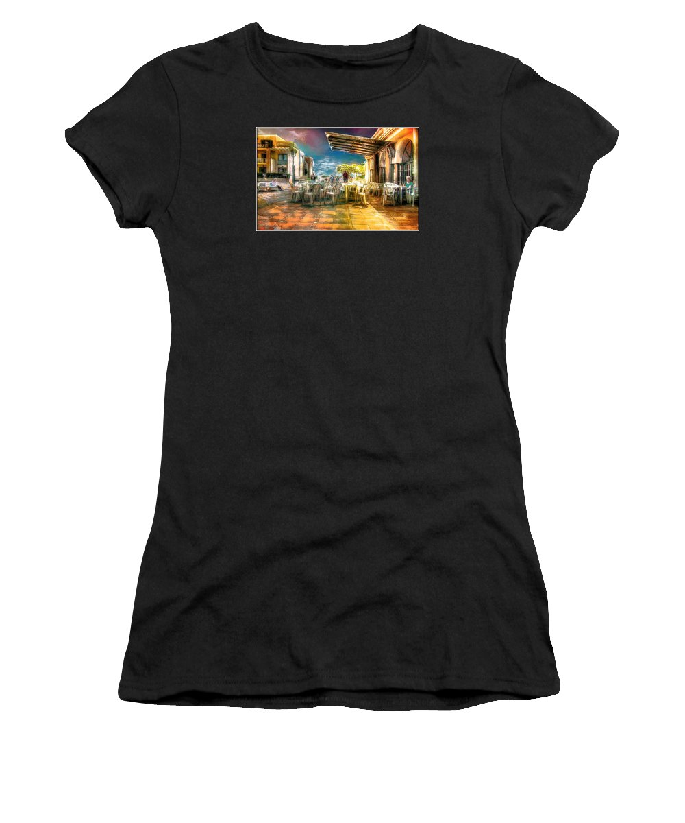 Es Canutells Women's T-Shirt featuring the digital art Poolside Bar by John Lynch