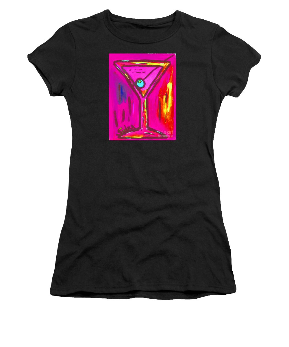 Martini Women's T-Shirt (Athletic Fit) featuring the painting Pop Art Martini Pink Neon Series 1989 by Sidra Myers