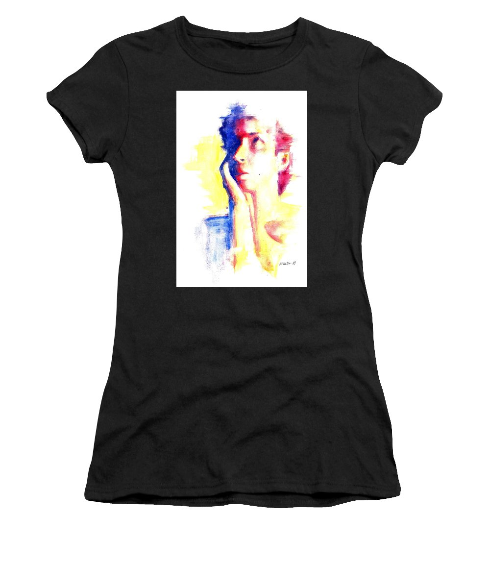 Moder Women's T-Shirt (Athletic Fit) featuring the digital art Pop Art Woman Portrait by Emilio Martinez