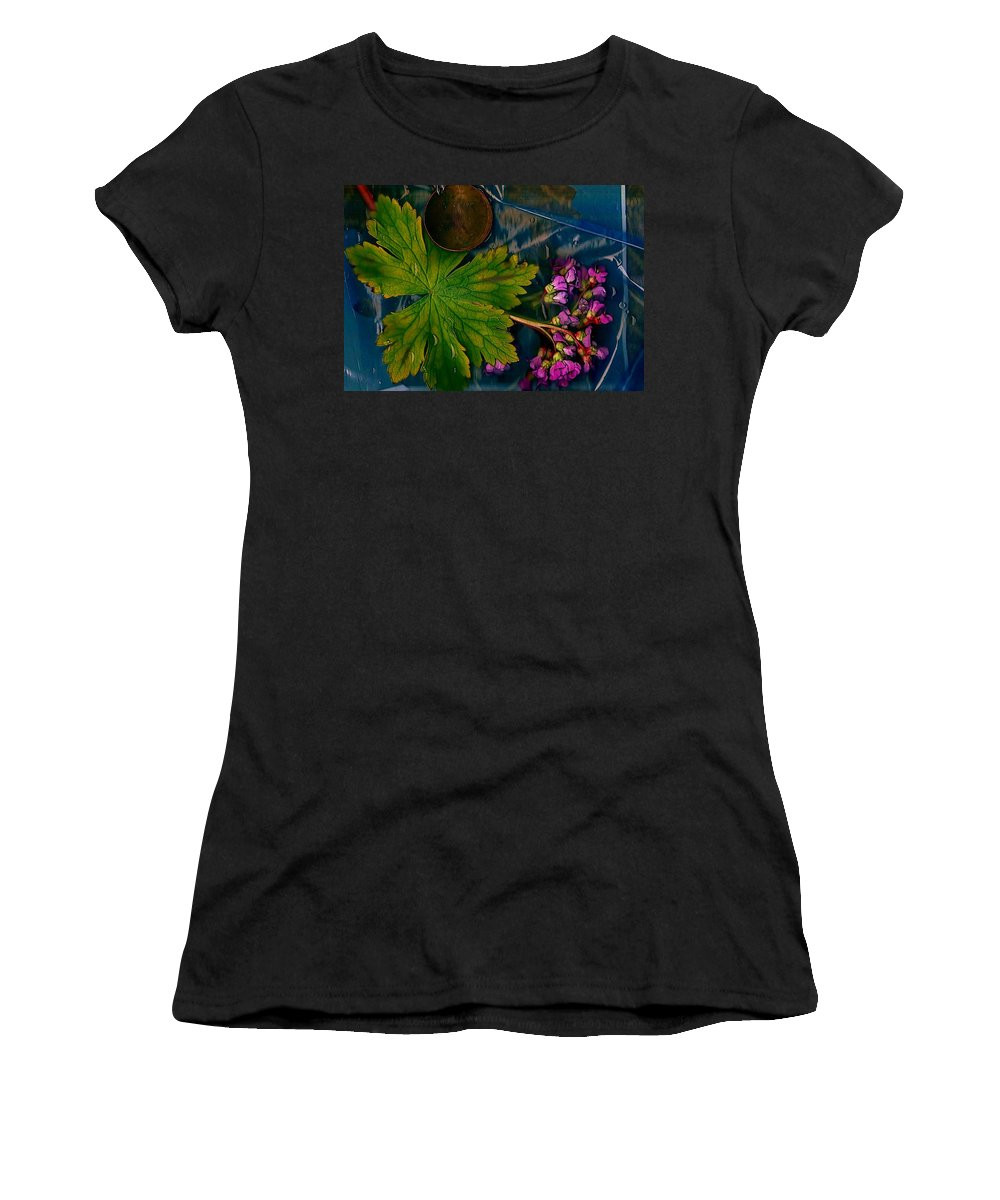 Water Women's T-Shirt (Athletic Fit) featuring the mixed media Popart With Fantasy Flowers by Pepita Selles