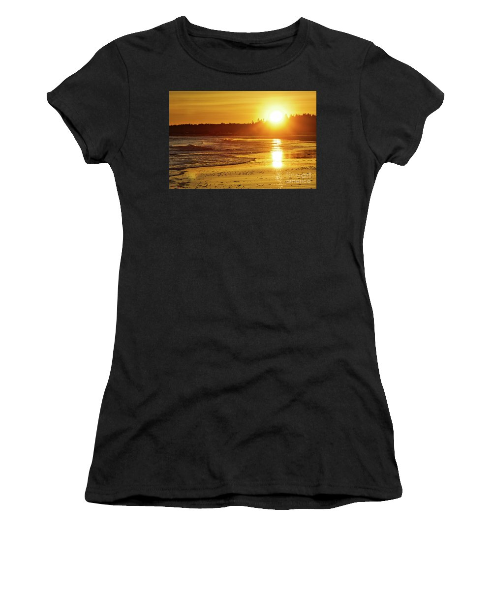 Sunset Women's T-Shirt (Athletic Fit) featuring the photograph Popham Reflections by John Kenealy