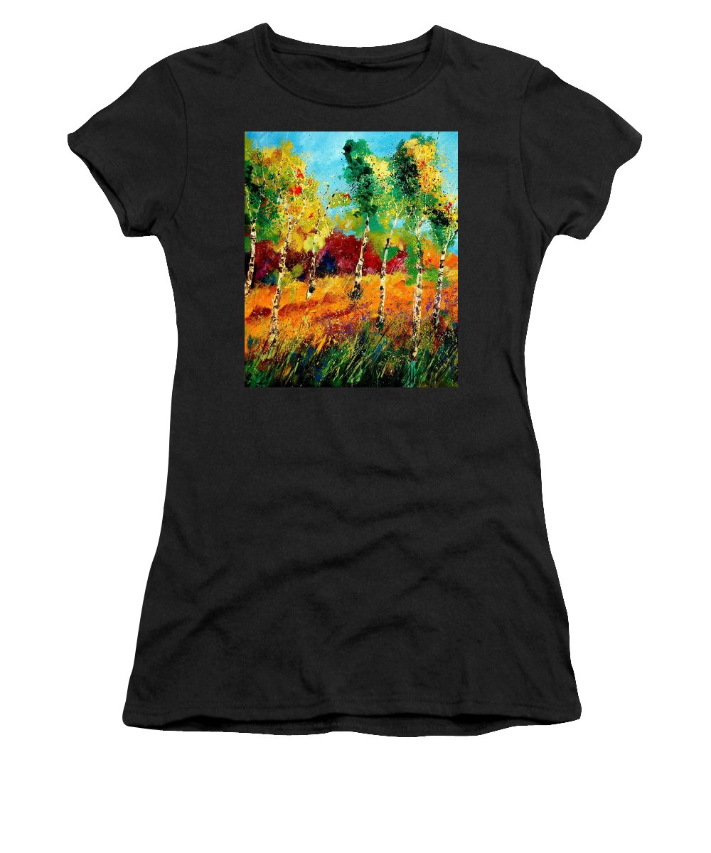 Poppy Women's T-Shirt (Athletic Fit) featuring the painting Poplars '459070 by Pol Ledent