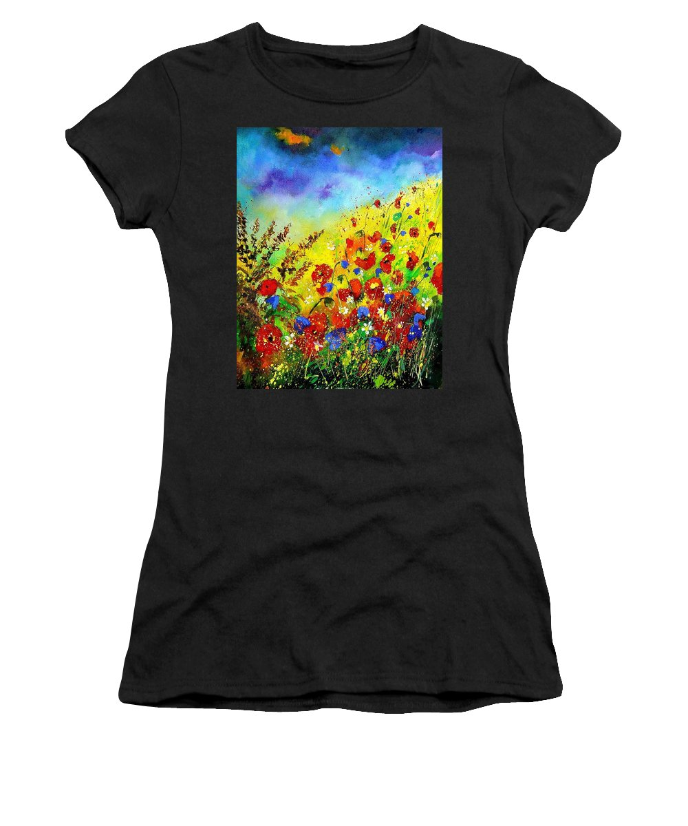 Poppies Women's T-Shirt featuring the print Poppies and blue bells by Pol Ledent