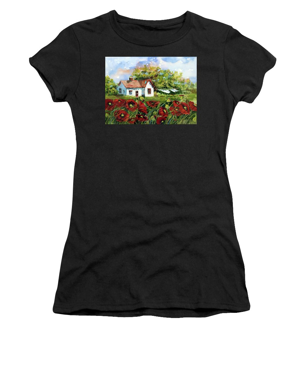 Watercolor Women's T-Shirt (Athletic Fit) featuring the painting Poppies And Laundry by Suzy Pal Powell