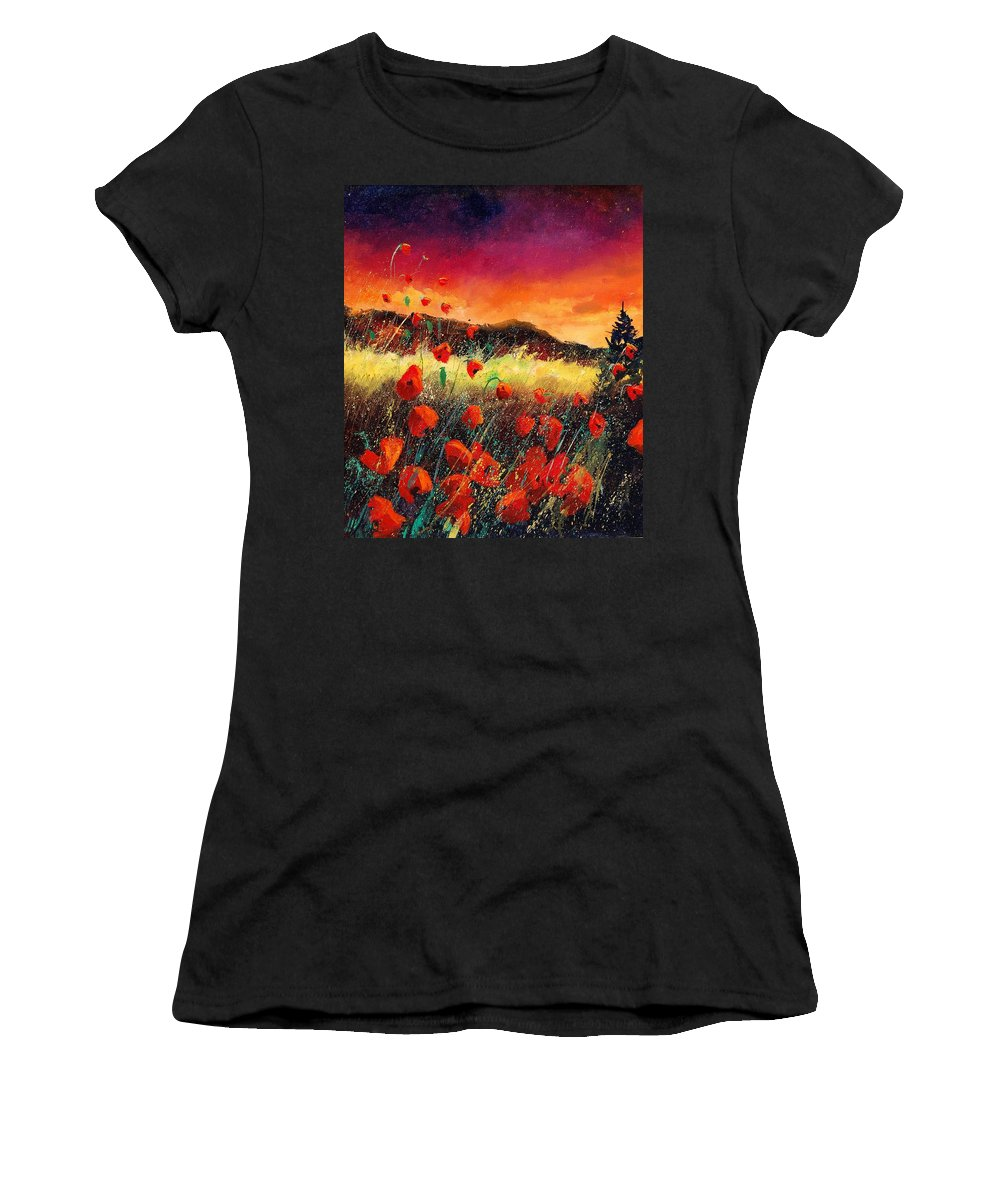Poppies Women's T-Shirt (Athletic Fit) featuring the painting Poppies At Sunset 67 by Pol Ledent
