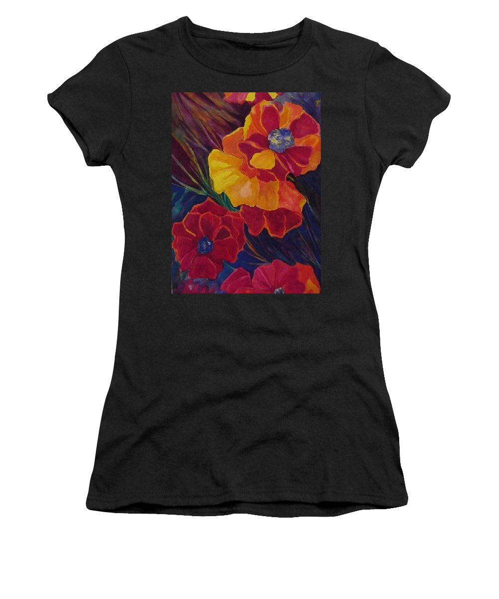 Flowers Women's T-Shirt (Athletic Fit) featuring the painting Poppies by Carolyn LeGrand