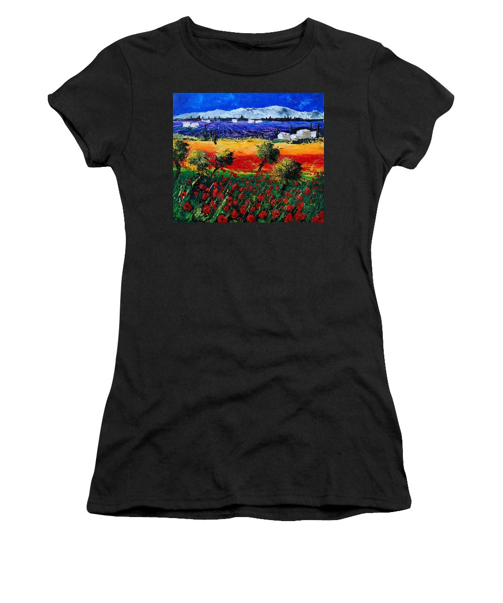 Poppy Women's T-Shirt (Athletic Fit) featuring the painting Poppies In Provence by Pol Ledent