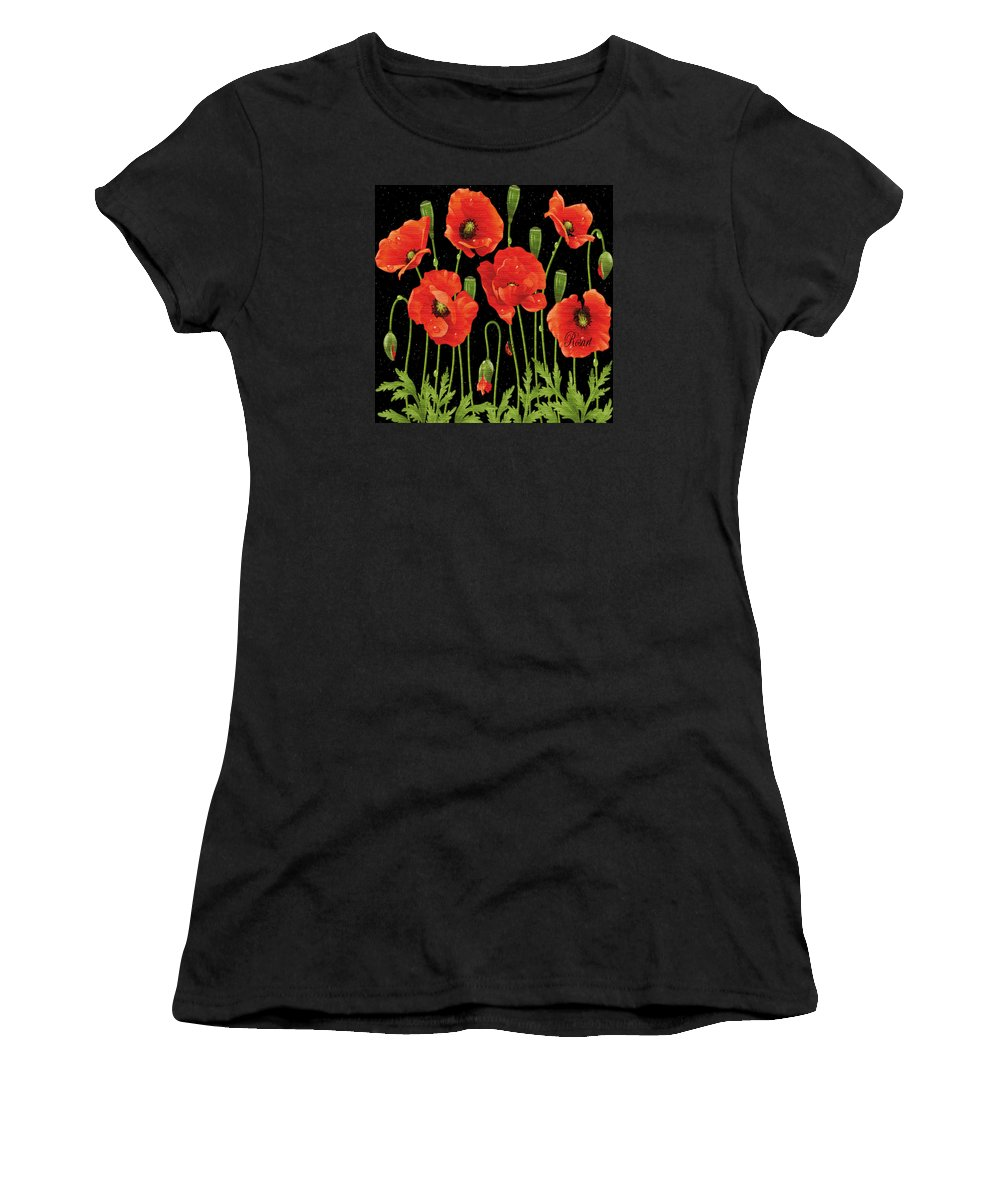 Vintage Women's T-Shirt featuring the photograph Poppies In The Starry Night by Rosa Maria Intorre