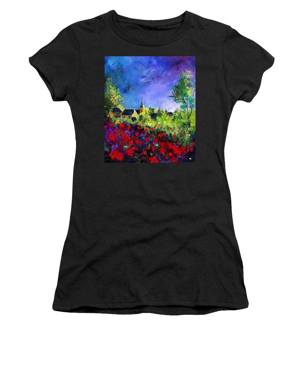 Flowers Women's T-Shirt (Athletic Fit) featuring the painting Poppies In Villers by Pol Ledent