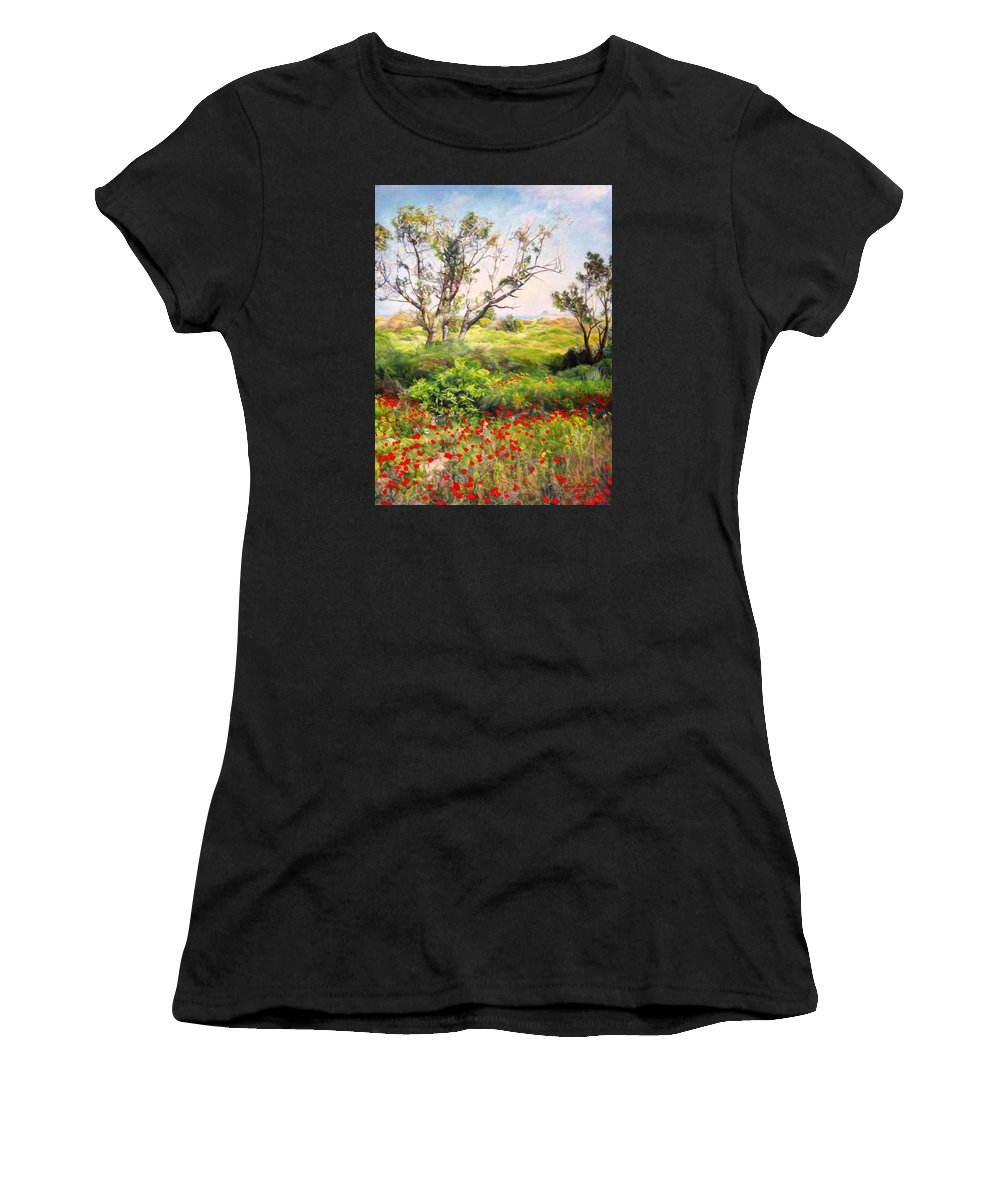 Artist Maya Bukhin Women's T-Shirt (Athletic Fit) featuring the painting Poppies by Maya Bukhina