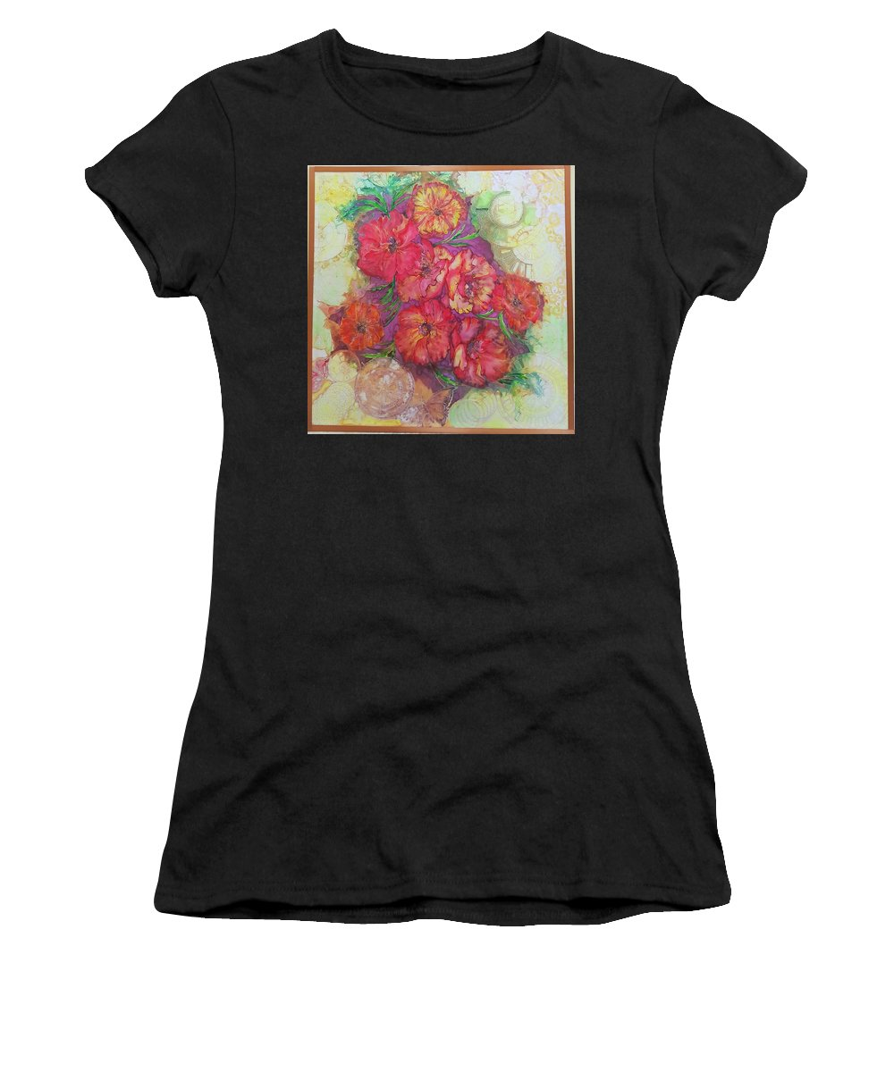 Painting On Silk Women's T-Shirt (Athletic Fit) featuring the painting Poppies by Natallia Mazurkevich