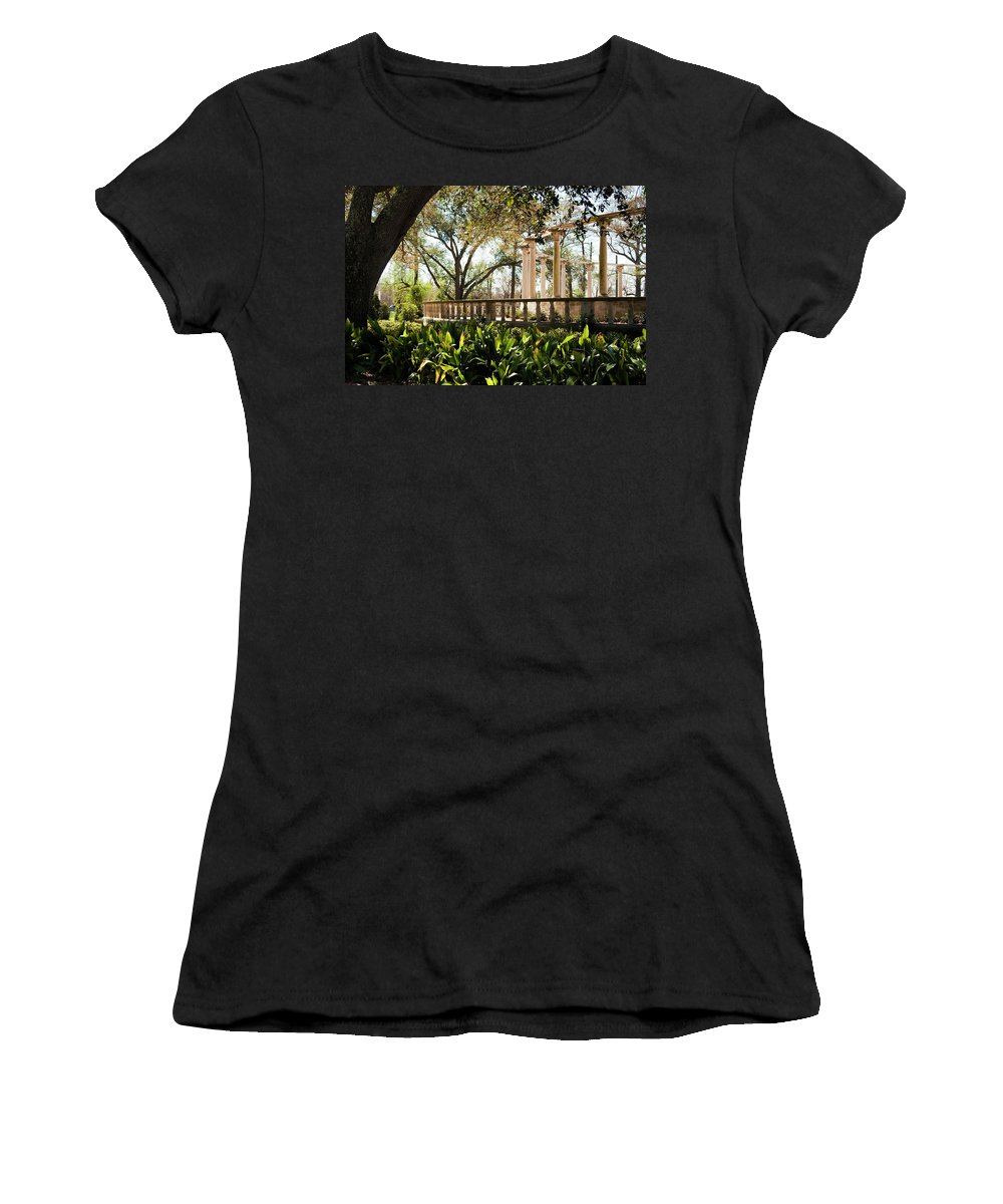 Kathleen K Parker Women's T-Shirt (Athletic Fit) featuring the photograph Popp's Fountain by Kathleen K Parker