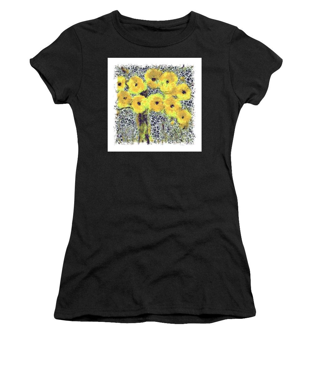 Floral Women's T-Shirt featuring the digital art Poppy Bouquet I Pf by Ronald Bolokofsky