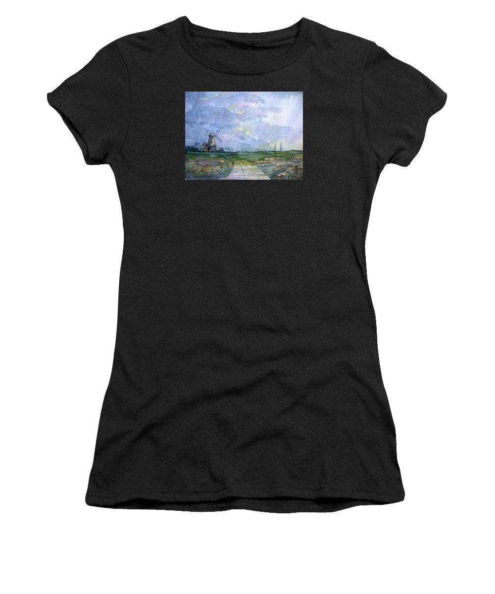 Landscape Women's T-Shirt (Athletic Fit) featuring the painting Poppy Field by Trudy Kepke