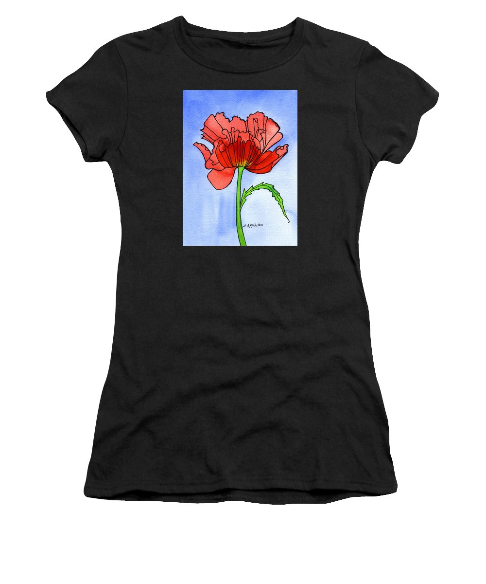 Flower Women's T-Shirt featuring the painting Poppy by Norma Appleton