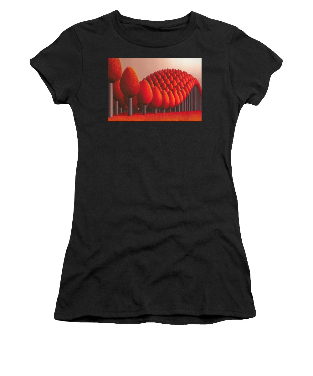 Tree Women's T-Shirt (Athletic Fit) featuring the painting Populus Flucta by Patricia Van Lubeck