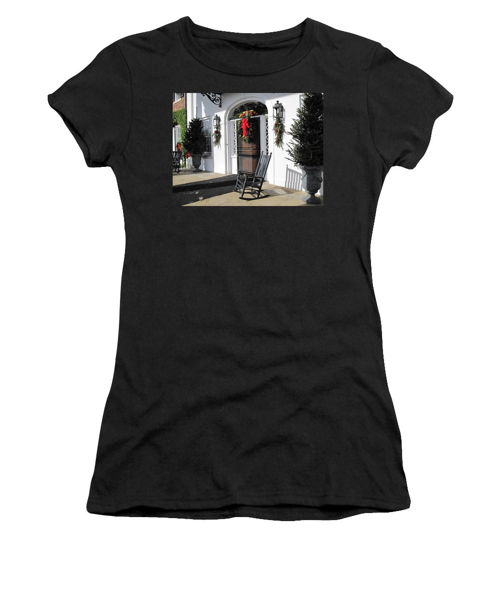 Photography Women's T-Shirt (Athletic Fit) featuring the photograph Porch At Boone Hall Plantation Charleston Sc by Susanne Van Hulst