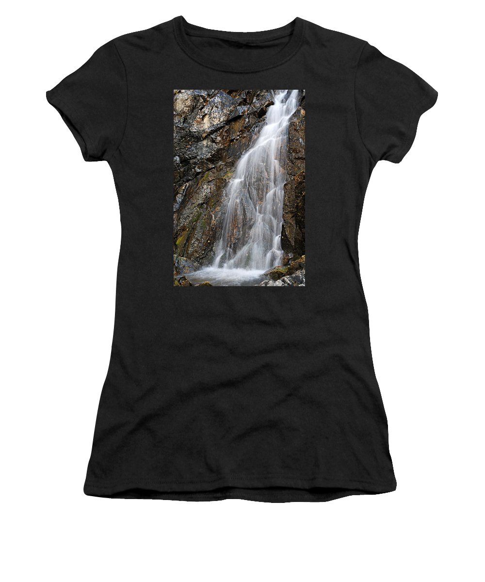 Porcupine Falls Women's T-Shirt (Athletic Fit) featuring the photograph Porcupine Falls Side Chute by Larry Ricker