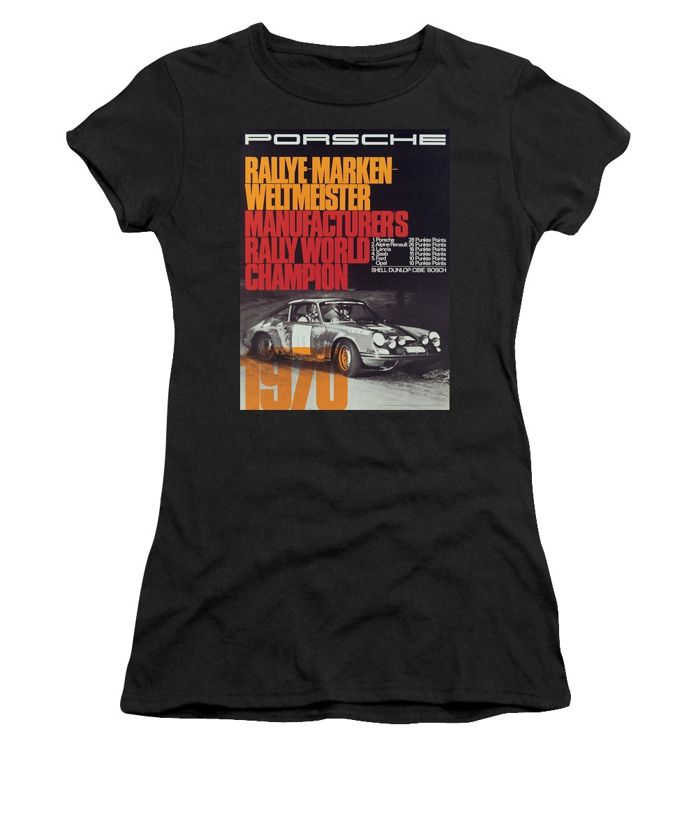 Porsche Women's T-Shirt featuring the digital art Porsche 1970 Rally World Champion by Georgia Fowler