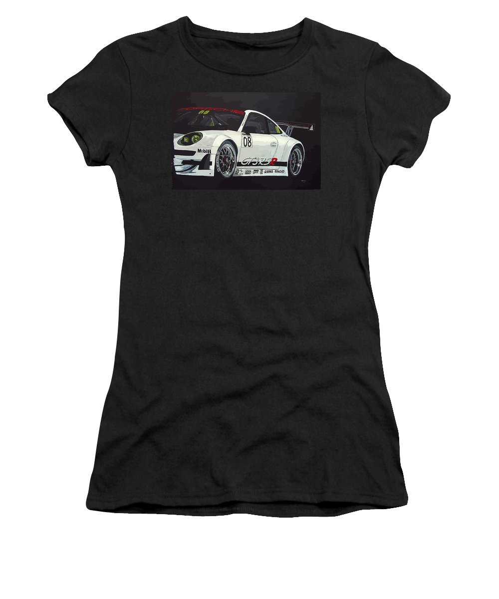 Car Women's T-Shirt (Athletic Fit) featuring the painting Porsche Gt3 Rsr by Richard Le Page