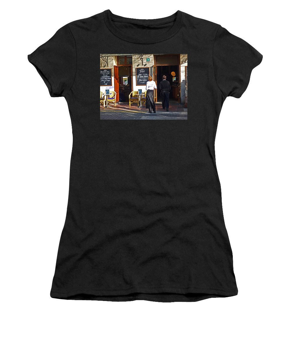 Cafe Women's T-Shirt (Athletic Fit) featuring the painting Port De Soller by Charles Stuart
