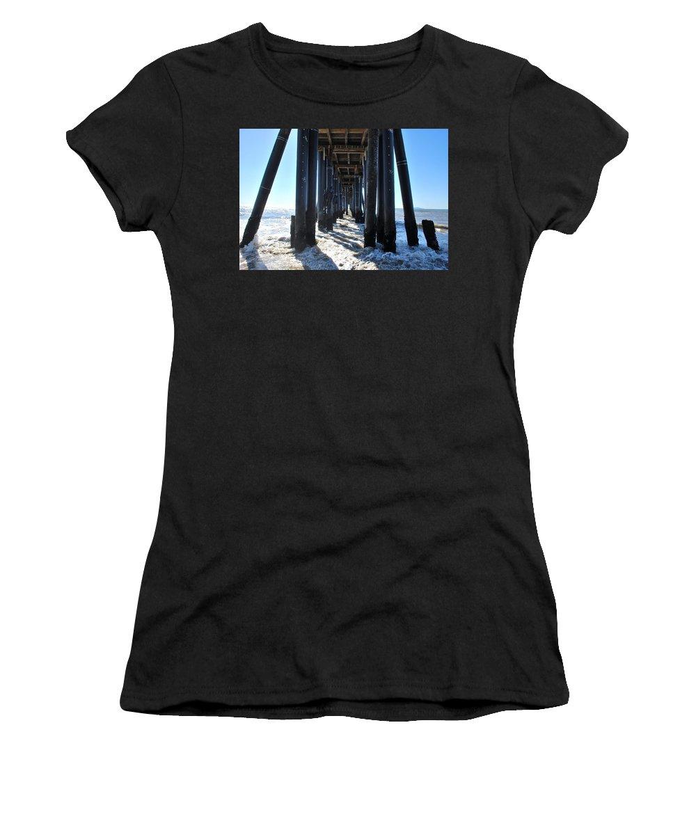 Sky Women's T-Shirt (Athletic Fit) featuring the photograph Port Hueneme Pier - Waves by Matt Harang