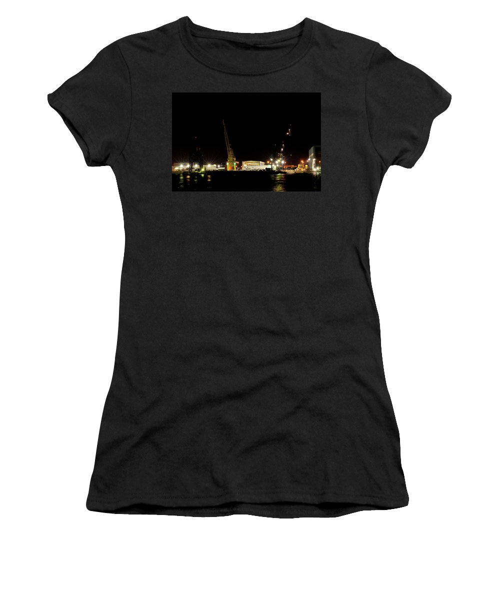 Port Women's T-Shirt featuring the photograph Port Of Tampa At Night by Carolyn Marshall