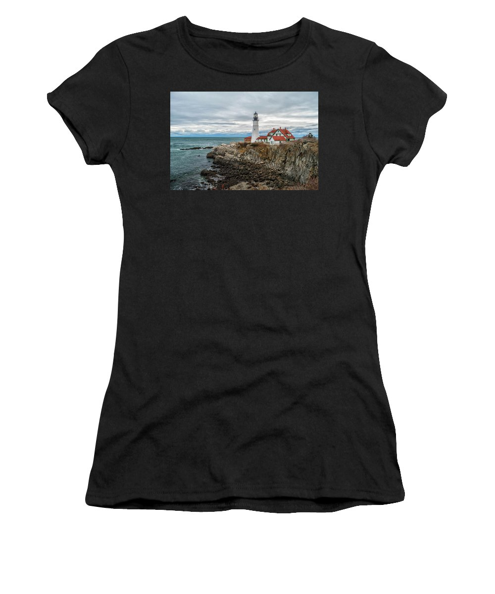 Alan Brown Women's T-Shirt (Athletic Fit) featuring the photograph Portland Head Light Part 2 by Alan Brown