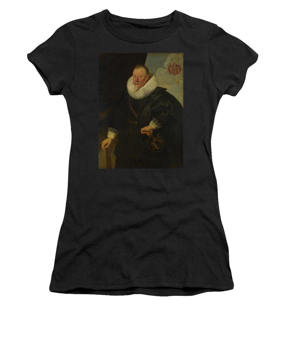 Flemish Women's T-Shirt (Athletic Fit) featuring the digital art Portrait Of A Man  by PixBreak Art