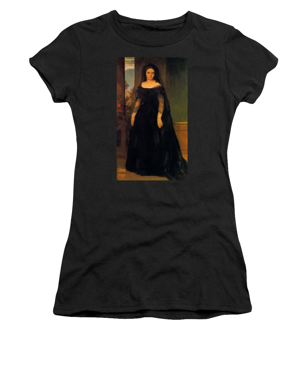 Portrait Women's T-Shirt (Athletic Fit) featuring the painting Portrait Of Actress Fanny Janauscher by Bocklin Arnold