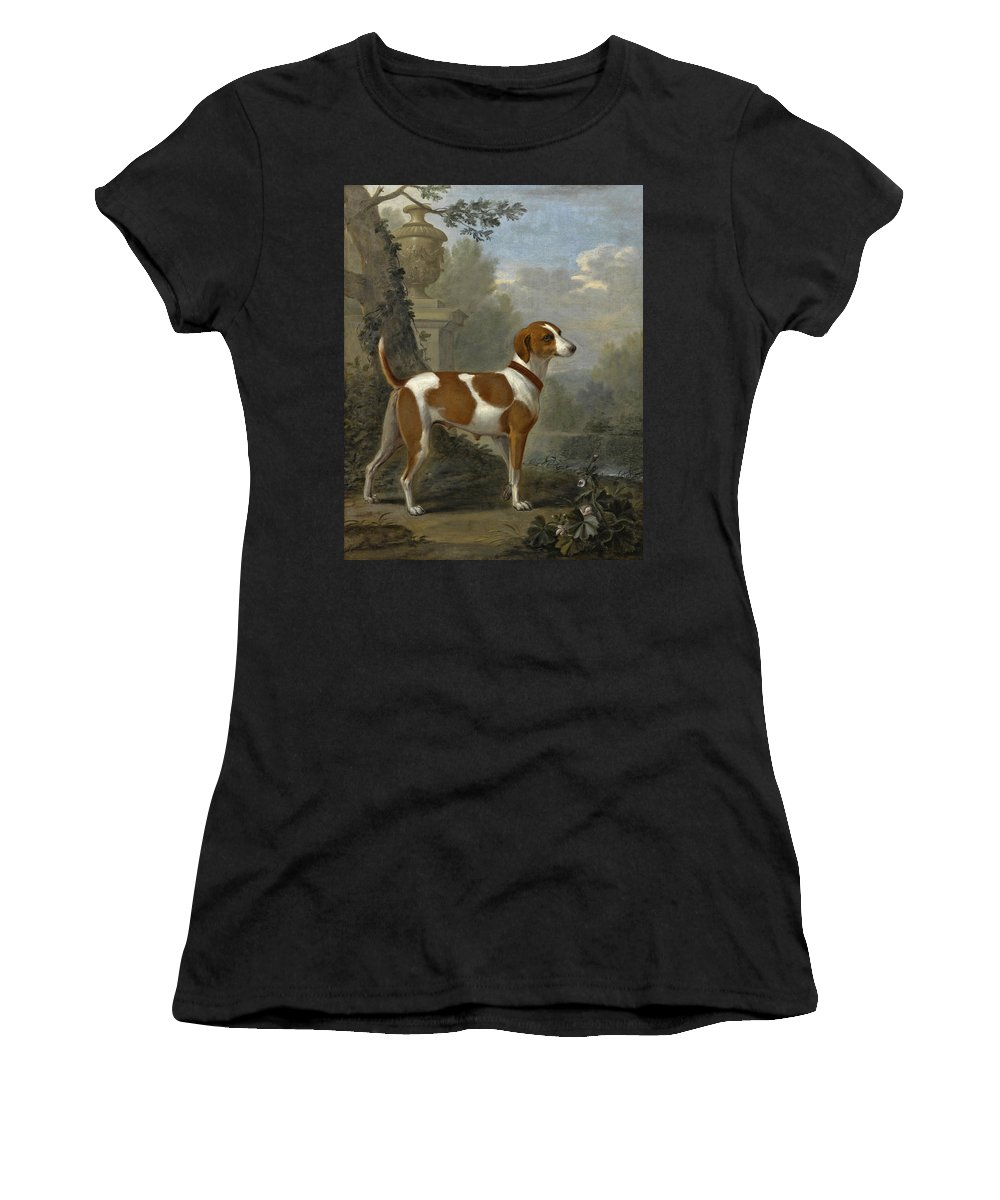 John Wootton Women's T-Shirt (Athletic Fit) featuring the painting Portrait Of The Duke Of Hamilton's Hound Jewell by John Wootton
