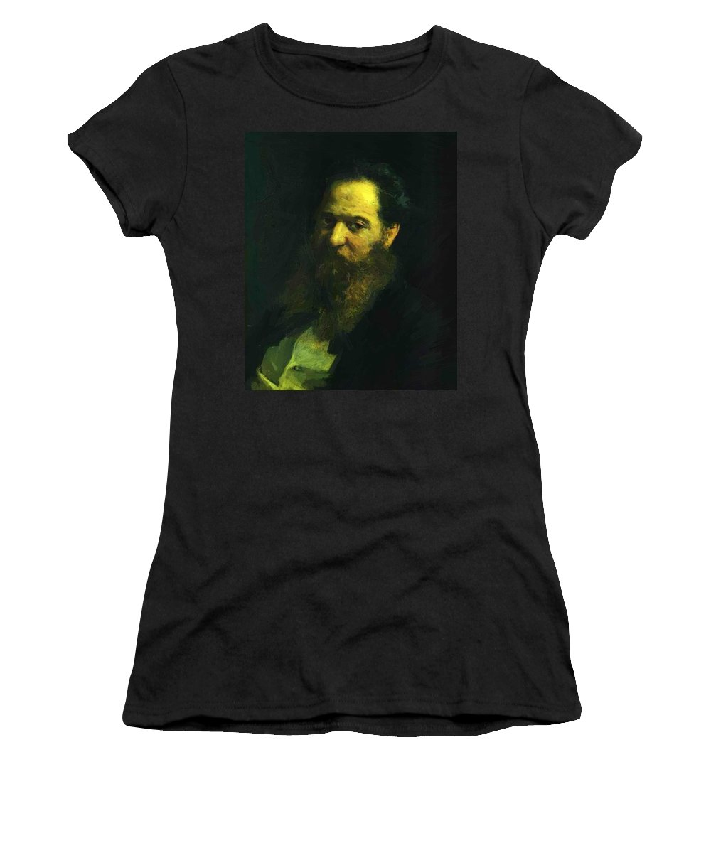 Portrait Women's T-Shirt (Athletic Fit) featuring the painting Portrait Of The Physiologist Moriz Schiff by Ge Nikolai