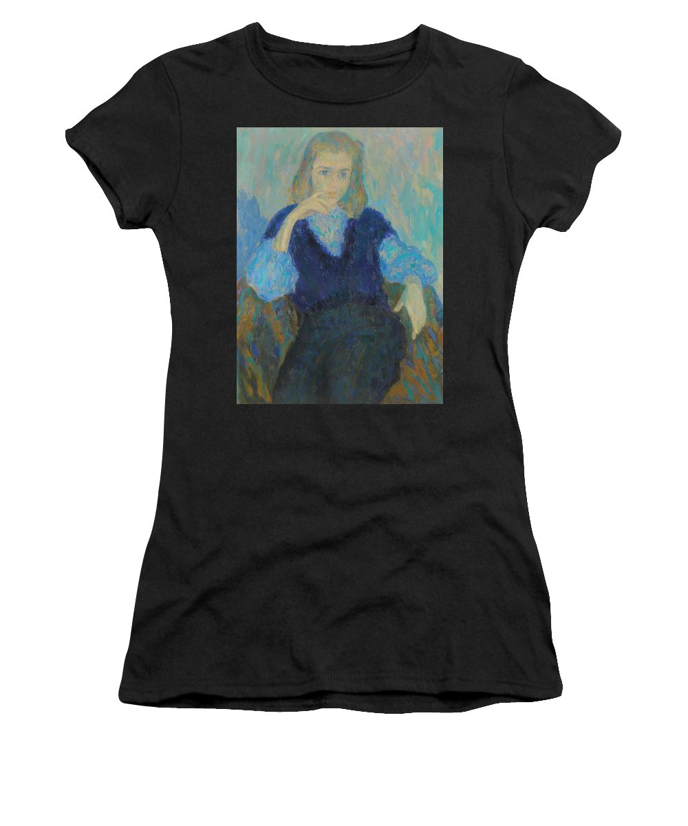 Beauty Women's T-Shirt (Athletic Fit) featuring the painting Portrait by Robert Nizamov