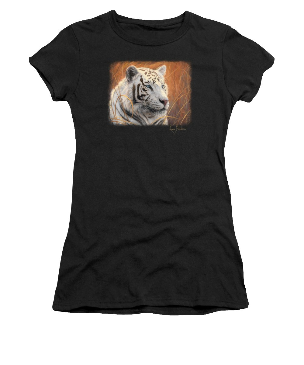 Tiger Women's T-Shirt featuring the painting Portrait White Tiger 2 by Lucie Bilodeau