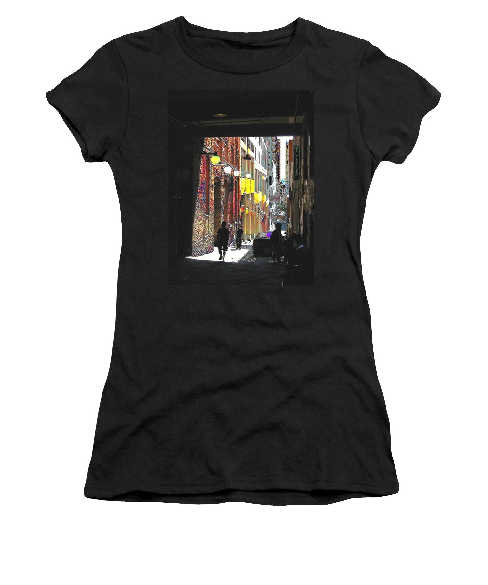 Seattle Women's T-Shirt (Athletic Fit) featuring the digital art Post Alley by Tim Allen
