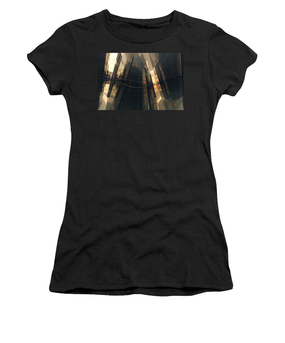 Reflection Women's T-Shirt (Athletic Fit) featuring the digital art Poster-city 7 by Max Steinwald