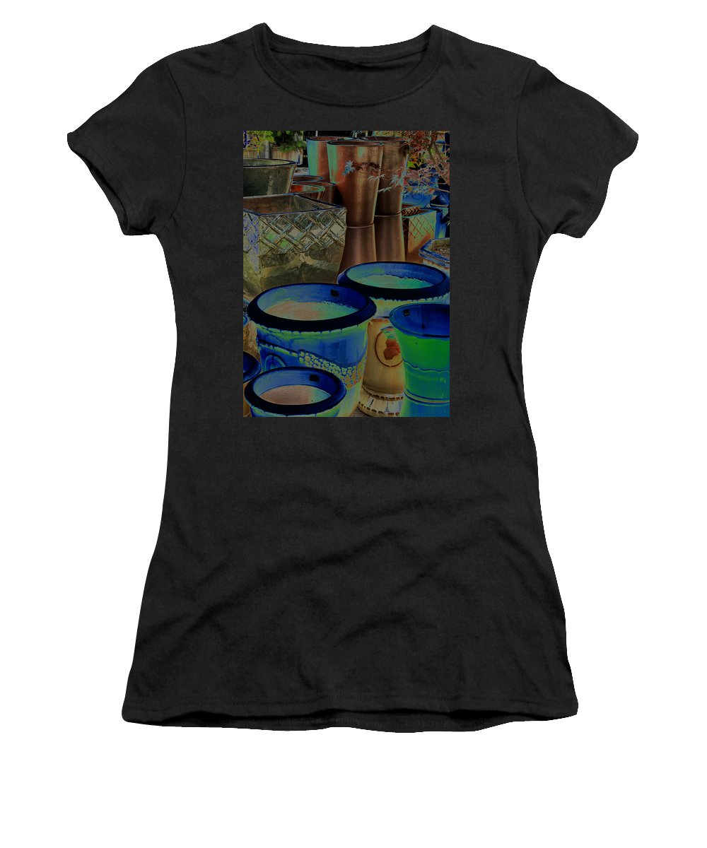 Pots Women's T-Shirt (Athletic Fit) featuring the digital art Pots by Ian MacDonald