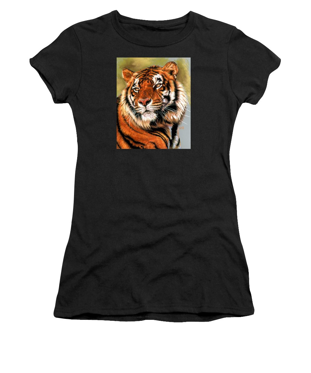 Tiger Women's T-Shirt (Athletic Fit) featuring the pastel Power And Grace by Barbara Keith