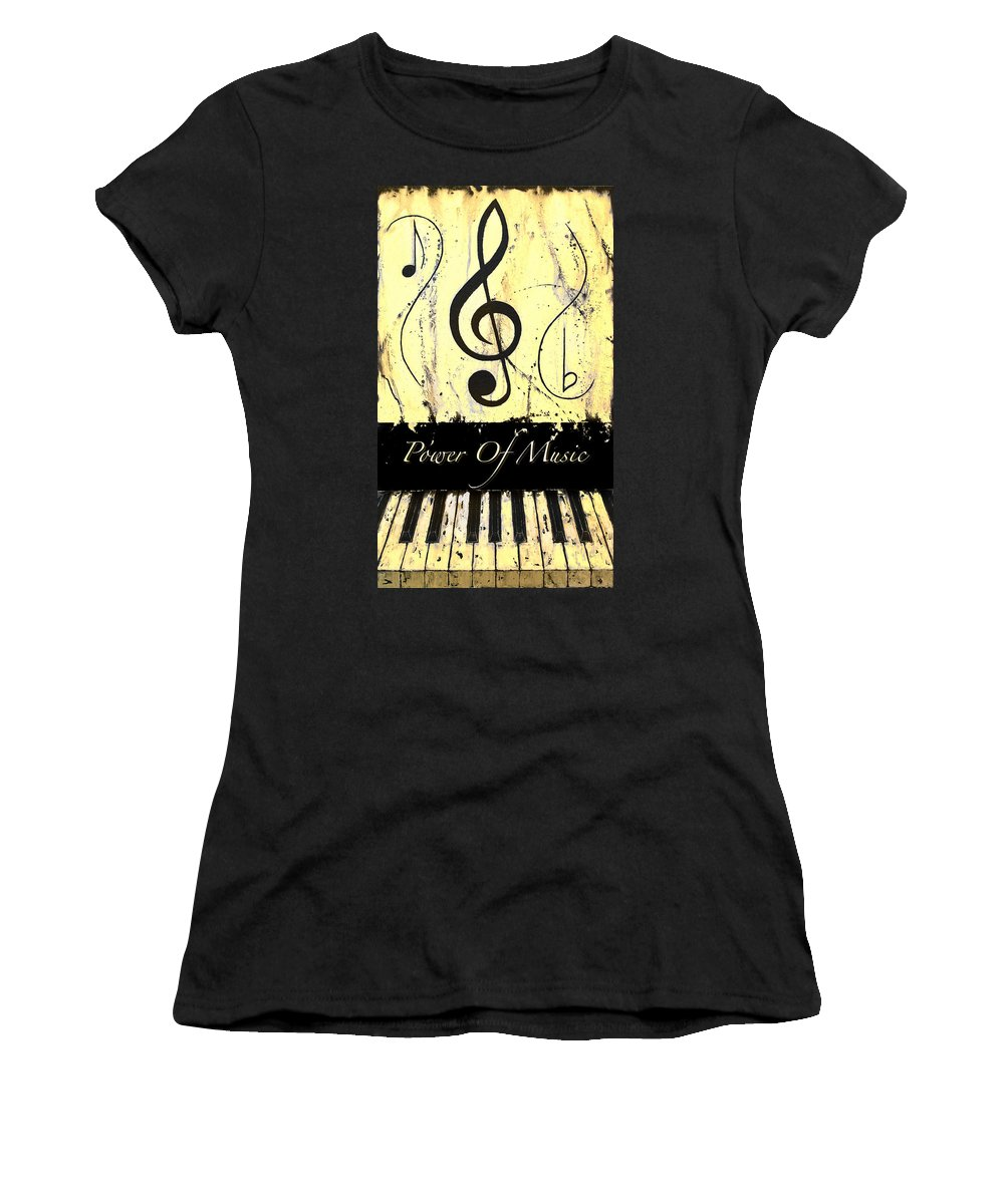 Power Of Music Yellow Women's T-Shirt (Athletic Fit) featuring the mixed media Power Of Music Yellow by Wayne Cantrell