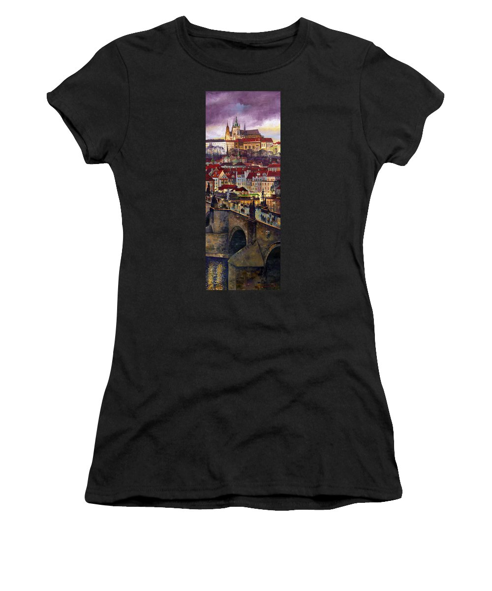 Prague Women's T-Shirt (Athletic Fit) featuring the painting Prague Charles Bridge With The Prague Castle by Yuriy Shevchuk
