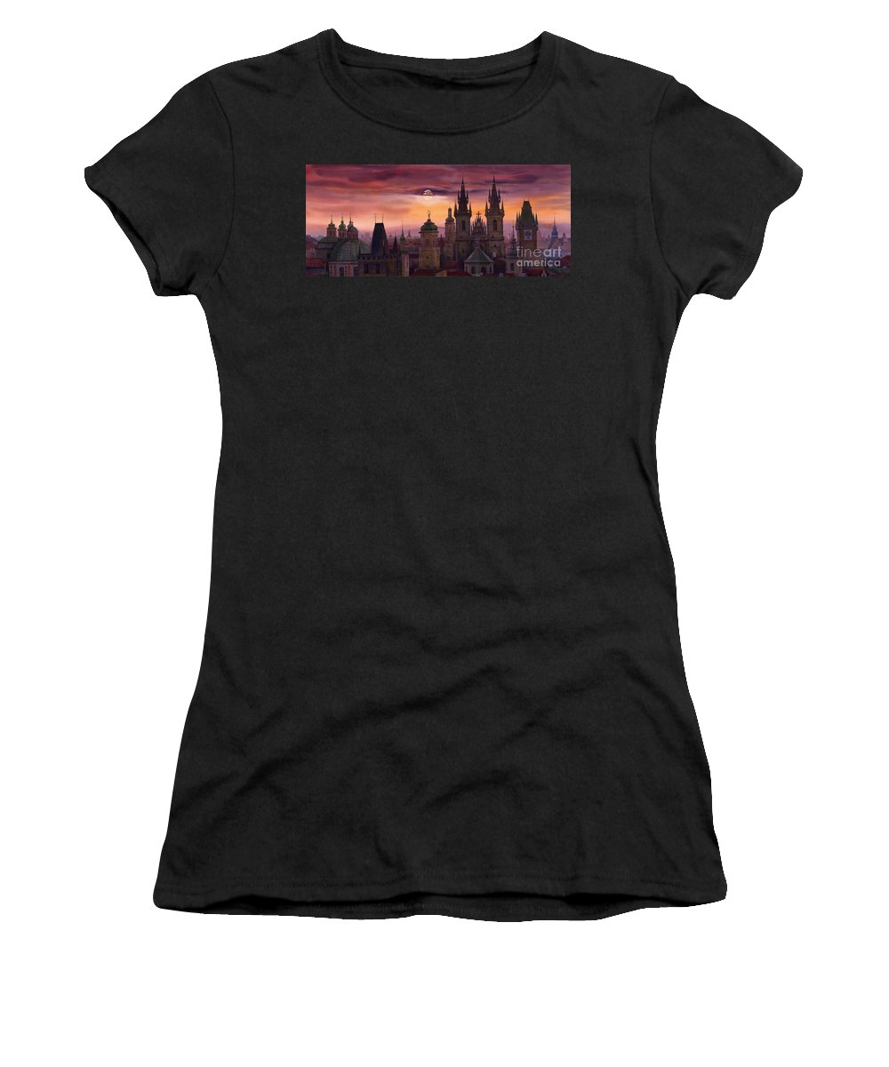 Cityscape Women's T-Shirt (Athletic Fit) featuring the painting Prague City Of Hundres Spiers by Yuriy Shevchuk